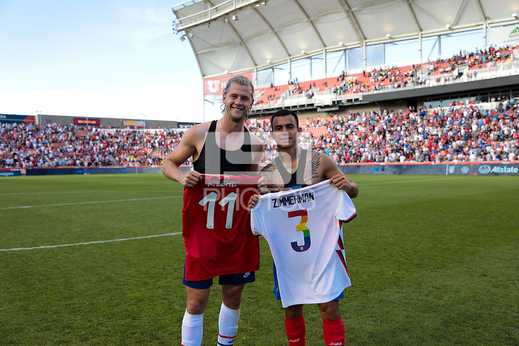 SANDY, UT - JUNE 10: Walker Zimmerman #3 of the United States and Randall Leal #11 of Costa Rica exchange tops during a game between Costa Rica and USMNT at Rio Tinto Stadium on June 10, 2021 in Sandy, Utah.