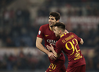 Football, Serie A: AS Roma - Bologna FC, Olympic stadium, Rome, February 18, 2019. <br /> Roma's Federico Fazio (l) celebrates after scoring with his teammate Stephan El Shaarawy (r) during the Italian Serie A football match between AS Roma and Bologna FC at Olympic stadium in Rome, on February 18, 2019.<br /> UPDATE IMAGES PRESS/Isabella Bonotto