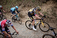 Wout van Aert (BEL/Jumbo-Visma) up the infamous Koppenberg<br /> <br /> 105th Ronde van Vlaanderen 2021 (MEN1.UWT)<br /> <br /> 1 day race from Antwerp to Oudenaarde (BEL/264km) <br /> <br /> ©kramon