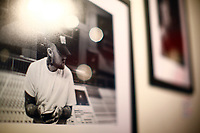 """A print of Mac Miller hangs at """"Proper Nouns', a photography show by Justin Boyd, at Bankrupt Bodega in the Bloomfield neighborhood on Friday September 3, 2021 in Pittsburgh, Pennsylvania. (Photo by Jared Wickerham/Pittsburgh City Paper)"""