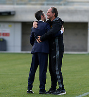 20180228 - LARNACA , CYPRUS :  Belgian assistant coach Kris Van Der Haegen (r) pictured hugging Spanish head coach Jorge Vilda (left) during a women's soccer game between Spain and the Belgian Red Flames , on friday 2 March 2018 at the AEK Arena in Larnaca , Cyprus . This is the second  game in group B for  Belgium during the Cyprus Womens Cup , a prestigious women soccer tournament as a preparation on the World Cup 2019 qualification duels. PHOTO SPORTPIX.BE | DAVID CATRY