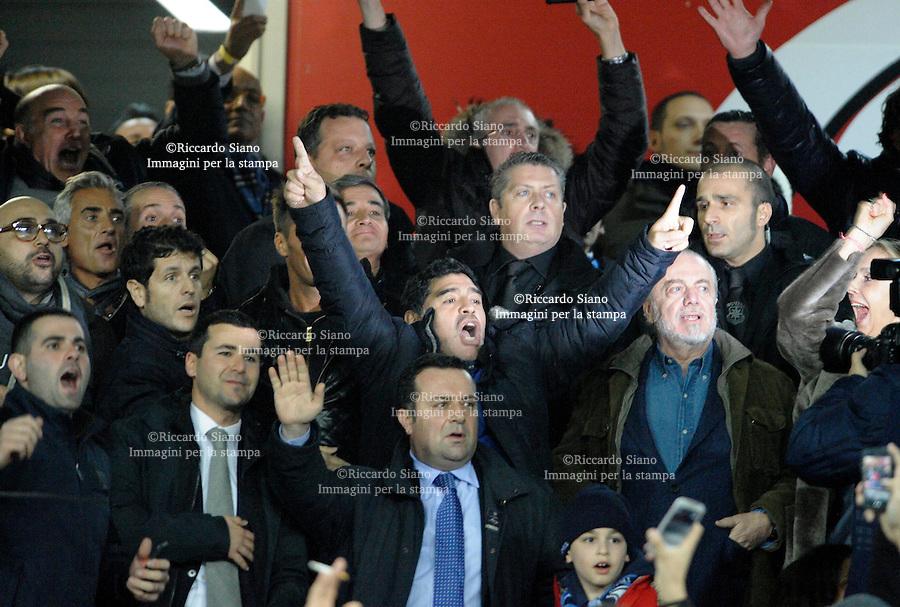 - NAPOLI 12 FEB  -  Stadio San Paolo Coppa Italia   Napoli - Roma<br />  NELLA FOTO: esultanza di diego maradona dopo il gol di higuain<br />  © Riccardo Siano