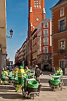 Crews of Limpieza, street cleaning service workers keep the city clean, Madrid, Spain