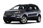 Stock pictures of low aggressive front three quarter view of a 2018 Ford EcoSport SE 5 Door SUV