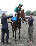 8 August 2009: GIO PONTI and jockey Ramon A. Dominguez cool off after winning the 27th running of the G1 Arlington Million at Arlington Park in Arlington Heights, Illinois.