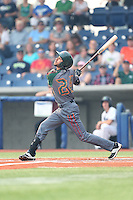 Carlos Herrera (24) of the Boise Hawks bats during a game against the Hillsboro Hops at Ron Tonkin Field on August 22, 2015 in Hillsboro, Oregon. Boise defeated Hillsboro, 6-4. (Larry Goren/Four Seam Images)
