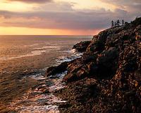 Sunrise light on the Atlantic Ocean viewed at the Schoodic Head Overlook; Acadia  National Park, ME