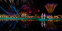 Wat Mahathat Temple Thai dancers and light show fireworks during the Loy Krathong festival in the Sukhothai Historical Park, Thailand, Southeast Asia