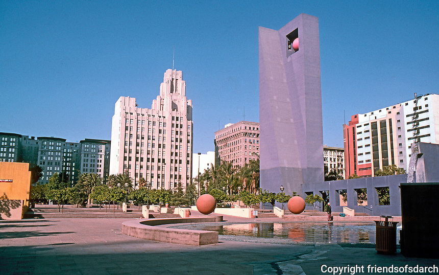 Los Angeles: Pershing Square, Latest Makeover, 1991-93. Legorreta & Laurie Olin, Landscape Arch. (From SW entrance--6th & Olive.)