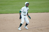 Gino Groover (23) of the Charlotte 49ers takes his lead off of second base against the Appalachian State Mountaineers at Atrium Health Ballpark on March 23, 2021 in Kannapolis, North Carolina. (Brian Westerholt/Four Seam Images)