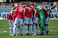 SAN JOSE, CA - APRIL 24: The FC Dallas team FC Dallas team huddles before a game between FC Dallas and San Jose Earthquakes at PayPal Park on April 24, 2021 in San Jose, California.
