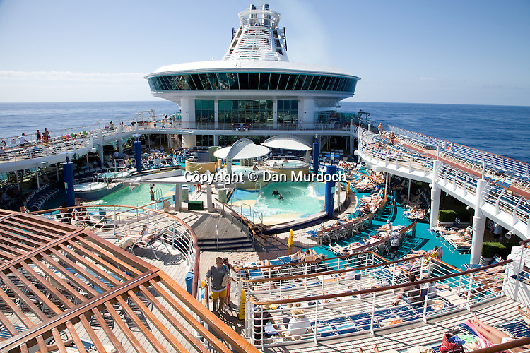 """The upper deck of the Royal Caribbean cruise ship """"Explorer of the Seas""""."""