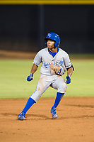 AZL Royals second baseman Tyler James (14) rounds second base against the AZL Mariners on July 29, 2017 at Peoria Stadium in Peoria, Arizona. AZL Royals defeated the AZL Mariners 11-4. (Zachary Lucy/Four Seam Images)