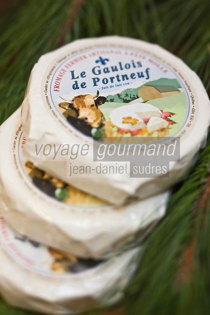 Amérique/Amérique du Nord/Canada/Québec/ Québec:  Marché du Vieux-Port _ Etal de Fromages  à : La Fromagère, Marché du vieux port<br /> Le Gaulois de Portneuf : Fromage fermier à pâte molle à croûte fleurie, fait de lait de vache entier cru.