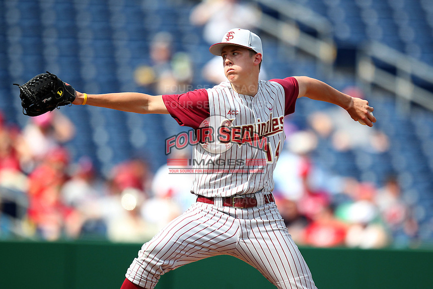 Florida State Seminoles pitcher Kyle Bird #14 delivers a pitch during a scrimmage against the Philadelphia Phillies at Brighthouse Field on February 29, 2012 in Clearwater, Florida.  Philadelphia defeated Florida State 6-1.  (Mike Janes/Four Seam Images)