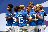 Ronan Curtis of Portsmouth 2nd right is congratulated on scoring the first goal during Portsmouth vs Oxford United, Sky Bet EFL League 1 Play-Off Semi-Final Football at Fratton Park on 3rd July 2020
