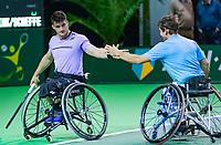 Rotterdam, The Netherlands, 12 Februari 2019, ABNAMRO World Tennis Tournament, Ahoy, first round wheelchair doubles: Gilles Simon (FRA) - Tomas Berdych (CZE),<br /> Photo: www.tennisimages.com/Henk Koster