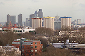 Ampthill Square Estate and the City of London viewed from Primrose Hill, London.