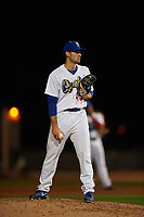 Rancho Cucamonga Quakes relief pitcher Zach Pop (45) looks to his catcher for the sign during a California League game against the Lake Elsinore Storm at LoanMart Field on May 19, 2018 in Rancho Cucamonga, California. Lake Elsinore defeated Rancho Cucamonga 10-7. (Zachary Lucy/Four Seam Images)