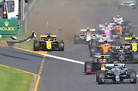 March 17, 2019: Daniel Ricciardo (AUS) #3 from the Renault F1 Team crashes at the start of the 2019 Australian Formula One Grand Prix at Albert Park, Melbourne, Australia. Photo Sydney Low