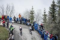 Vincenzo Nibali (ITA/Trek-Segafredo) & Matteo Fabbro (ITA/BORA - hansgrohe) up the final part of the Monte Zoncolan <br /> <br /> 104th Giro d'Italia 2021 (2.UWT)<br /> Stage 14 from Cittadella›Monte Zoncolan (205km)<br /> <br /> ©kramon