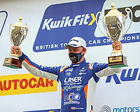30th August 2020; Knockhill Racing Circuit, Fife, Scotland; Kwik Fit British Touring Car Championship, Knockhill, Race Day; Ashley Sutton with the winning independent and 1st place trophies during the round 11 of the BTCC