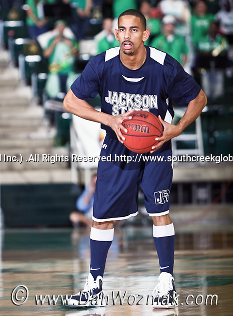 Jackson State Tigers forward Cason Burk (1) gets ready to pass the ball in the game between the Jackson State Tigers and the University of North Texas Mean Green at the North Texas Coliseum,the Super Pit, in Denton, Texas. UNT defeated Jackson 68 to 49