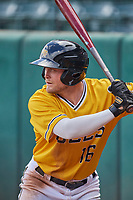 Brennon Lund (16) of the Salt Lake Bees comes up to bat during the game against the Tacoma Rainiers at Smith's Ballpark on May 16, 2021 in Salt Lake City, Utah. The Bees defeated the Rainiers 8-7. (Stephen Smith/Four Seam Images)