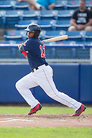Rafael Devers (13) of the Salem Red Sox follows through on his swing against the Lynchburg Hillcats at LewisGale Field at Salem Memorial Baseball Stadium on August 7, 2016 in Salem, Virginia.  The Red Sox defeated the Hillcats 11-2.  (Brian Westerholt/Four Seam Images)