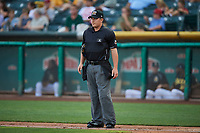 Umpire Sean Ryan handles the calls behind the plate during the game between the Salt Lake Bees and the El Paso Chihuahuas at Smith's Ballpark on August 14, 2018 in Salt Lake City, Utah. El Paso defeated Salt Lake 6-3. (Stephen Smith/Four Seam Images)