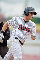 Birmingham Barons right fielder Mason Robbins (20) rounds the bases after hitting a home run in the bottom of the eighth inning during a game against the Jacksonville Jumbo Shrimp on April 24, 2017 at Regions Field in Birmingham, Alabama.  Jacksonville defeated Birmingham 4-1.  (Mike Janes/Four Seam Images)