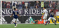 Foxborough, Massachusetts - May 11, 2019: In a Major League Soccer (MLS) match, New England Revolution (blue/white) defeated San Jose Earthquakes (white), 3-1, at Gillette Stadium.<br /> Goal.