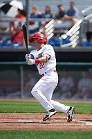 Auburn Doubledays shortstop Paul Panaccione (22) at bat during the second game of a doubleheader against the Mahoning Valley Scrappers on July 2, 2017 at Falcon Park in Auburn, New York.  Mahoning Valley defeated Auburn 3-2.  (Mike Janes/Four Seam Images)