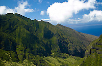 Aerial view of the West Maui mountains above Lahaina with Kahoolawe in the distance
