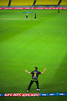 Australia's Mitch Marsh moves around the boundary during the third international men's T20 cricket match between the New Zealand Black Capss and Australia at Sky Stadium in Wellington, New Zealand on Wednesday, 3 March 2021. Photo: Dave Lintott / lintottphoto.co.nz