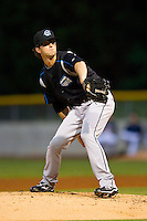 Syracuse Chiefs relief pitcher Erik Davis (17) in action against the Charlotte Knights at Knights Stadium on August 29, 2012 in Fort Mill, South Carolina.  (Brian Westerholt/Four Seam Images)