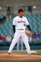 Rochester Red Wings pitcher Jose Berrios (16) looks in for the sign during a game against the Buffalo Bisons on July 8, 2015 at Frontier Field in Rochester, New York.  Rochester defeated Buffalo 6-5.  (Mike Janes/Four Seam Images)