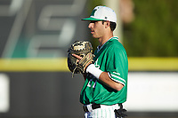Marshall Thundering Herd first baseman Shane Hanon (27) on defense against the Charlotte 49ers at Hayes Stadium on March 22, 2019 in Charlotte, North Carolina. The Thundering Herd defeated the 49ers 12-6. (Brian Westerholt/Four Seam Images)