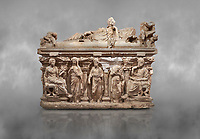 "Roman relief sculpted sarcophagus of Domitias Julianus and Domita Philiska depicted reclining on the lid, 2nd century AD, Perge. Antalya Archaeology Museum, Turkey.<br /> <br /> it is from the group of tombs classified as. ""Columned Sarcophagi of Asia Minor"". <br /> The lid of the sarcophagus is sculpted into the form of a ""Kline"" style Roman couch on which lie Julianus &  Philiska. This type of Sarcophagus is also known as a Sydemara Type of Tomb."