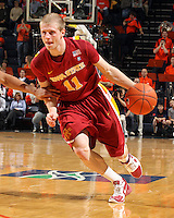 Dec. 30, 2010; Charlottesville, VA, USA; Iowa State Cyclones guard Scott Christopherson (11) handles the ball during the game against the Virginia Cavaliers at the John Paul Jones Arena. Mandatory Credit: Andrew Shurtleff