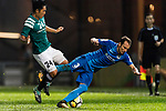 SC Kitchee Defender Daniel Cancela Rodriguez (R) fights for the ball with Yingzhi Ju of Long Lions (L) during the Community Cup match between Kitchee and Eastern Long Lions at Mong Kok Stadium on September 23, 2017 in Hong Kong, China. Photo by Marcio Rodrigo Machado / Power Sport Images