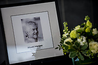 Thursday 18 May 2017<br /> Pictured: A photograph of Rhodri Morgan which stands next to the book of condolences which has been places inside the 'Senedd', the Welsh Assembly Building in Cardiff Bay <br /> Re: Former Welsh first minister Rhodri Morgan has died, aged 77. Rhodri Morgan was elected as an MP in 1987 and became an AM when the assembly was created in 1999.