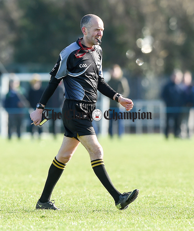 Referee Cathal Mc Allister during the Fitzgibbon Cup quarter-final in Limerick. Photograph by John Kelly.