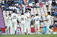 The New Zealand team congratulate Kyle Jamieson, New Zealand on his fifth wicket during India vs New Zealand, ICC World Test Championship Final Cricket at The Hampshire Bowl on 20th June 2021