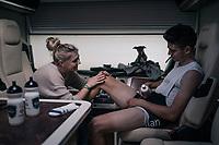 CX World Champion Wout Van Aert (BEL/Crélan-Charles) preparing for the race in his camper with girlfriend/soigneur Sarah De Bie oiling in the legs<br /> <br /> Super Prestige Ruddervoorde / Belgium 2017