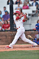 Johnson City Cardinals catcher Chris Rivera (12) swings at a pitch during a game against the Kingsport Mets on June 25, 2015 in Johnson City, Tennessee. The Mets defeated the Cardinals 10-8 (Tony Farlow/Four Seam Images)