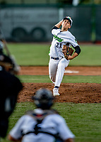 29 May 2021: Vermont Lake Monsters pitcher Chris Clark, from Wayne, PA, on the mound against the Norwich Sea Unicorns at Centennial Field in Burlington, Vermont. The Lake Monsters defeated the Unicorns 6-3 in their FCBL Home Opener, the first home game played at Centennial Field post-Covid-19 pandemic. Mandatory Credit: Ed Wolfstein Photo *** RAW (NEF) Image File Available ***