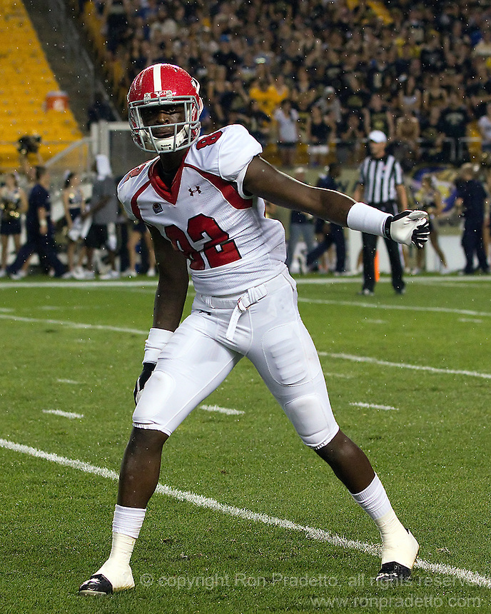 Youngstown State wide receiver Kintrell Disher. The Youngstown St. Penguins defeated the Pittsburgh Panthers 31-17 on Saturday, September 1, 2012 at Heinz Field in Pittsburgh, PA.