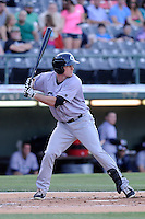 Second baseman Matt Lawson (45) of the Columbus Clippers bats in a game against the Charlotte Knights on Saturday, June 15, 2013, at Knights Stadium in Fort Mill, South Carolina. Columbus won, 4-2. (Tom Priddy/Four Seam Images)