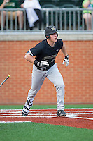 Gavin Sheets (24) of the Wake Forest Demon Deacons starts down the first base line against the Charlotte 49ers at Hayes Stadium on March 16, 2016 in Charlotte, North Carolina.  The 49ers defeated the Demon Deacons 7-6.  (Brian Westerholt/Four Seam Images)